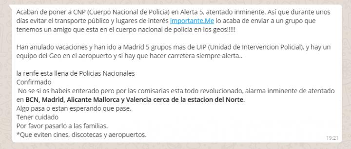 """Imagen - """"Alerta 5, atentado inminente"""" en Madrid y Barcelona, cuidado con este bulo de WhatsApp"""