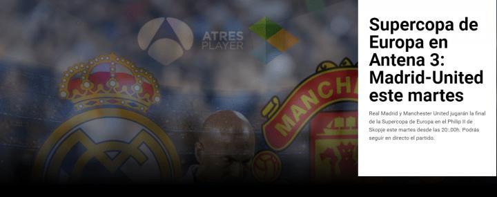 Imagen - Cómo ver online la Supercopa de Europa 2017: Real Madrid vs Manchester
