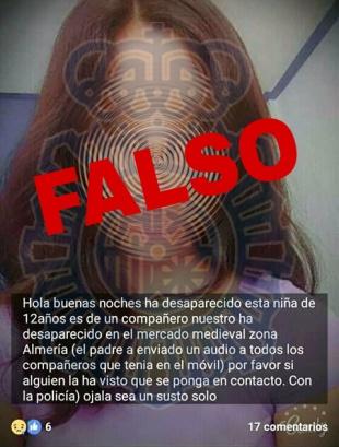Imagen - Circula un bulo por WhatsApp de una niña desaparecida