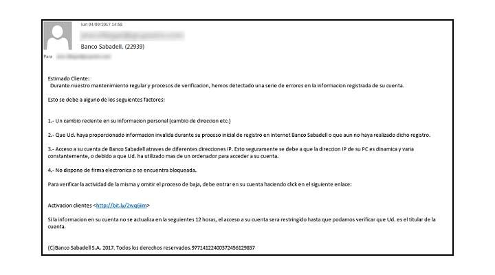 Imagen - Un falso correo del Banco Sabadell intenta robar tu contraseña