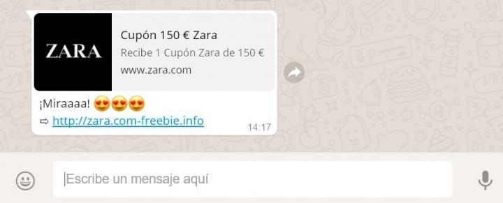 Imagen - Cuidado con los cupones de 150 euros de Zara que circulan por WhatsApp