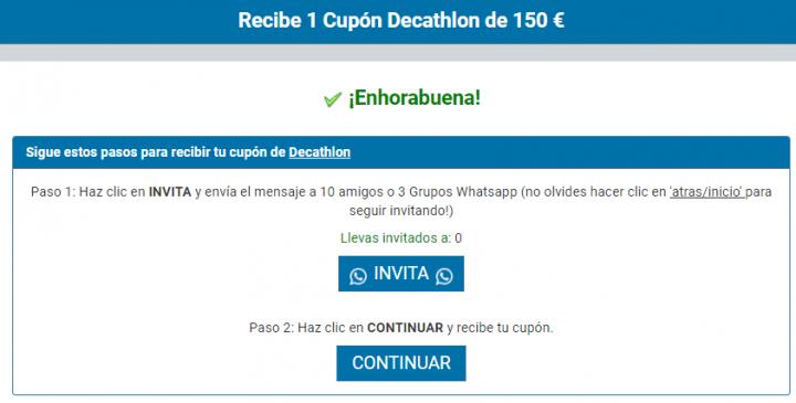 Imagen - Cuidado con el cupón de 150 euros para Decathlon que circula en WhatsApp