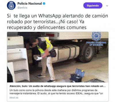 Imagen - Cuidado con el bulo del camión robado por terroristas que circula en WhatsApp