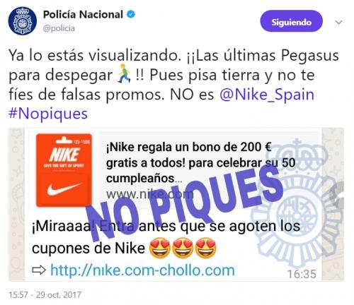 Un falso bono de 200 euros por el 50 cumpleaños de Nike