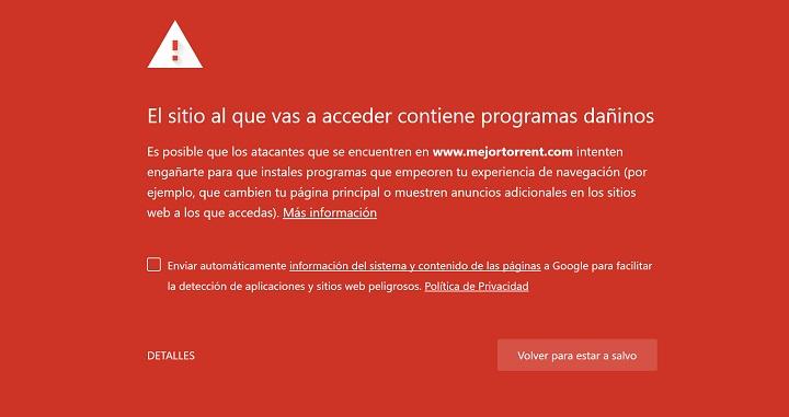 """Imagen - MejorTorrent: """"El sitio al que vas a acceder contiene programas dañinos"""""""