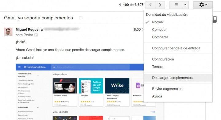 Imagen - Gmail ya soporta complementos
