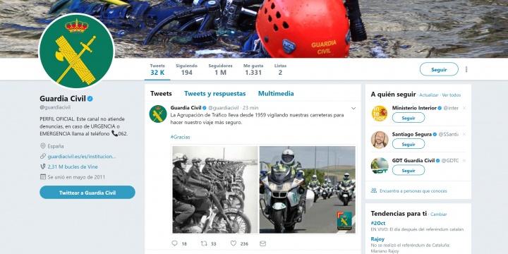 Imagen - La Guardia Civil alcanza 1 millón de seguidores en su cuenta de Twitter