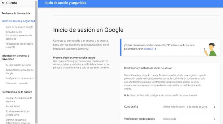 Imagen - Cómo activar la verificación en dos pasos en Gmail