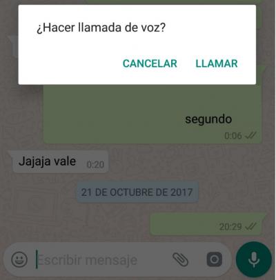 "Imagen - WhatsApp ya te avisa cuando pulsas ""llamada"" sin querer"