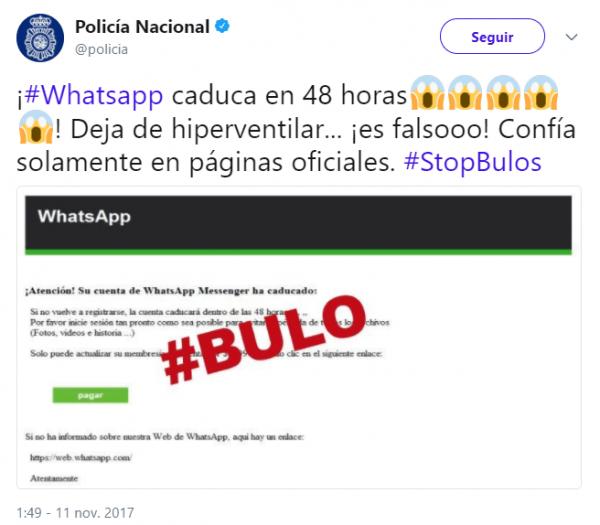 Imagen - Cuidado con el bulo de que tu cuenta de WhatsApp caducará en 48 horas