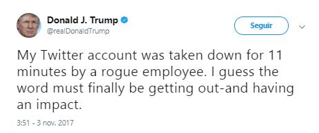 Imagen - La cuenta de Donald Trump en Twitter es desactivada por un empleado descontento