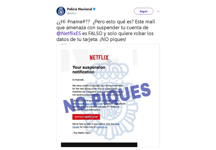 "Imagen - Circulan correos de Netflix con falsas ""suspension notification"""