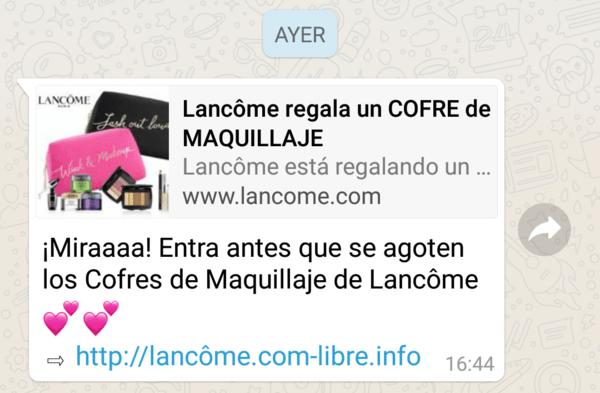 Imagen - ¡Cuidado! Lancôme no regala cofres de maquillaje en WhatsApp