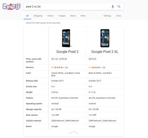 Imagen - Ya puedes comparar las especificaciones de dos dispositivos desde Google