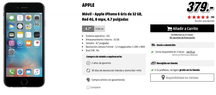 Imagen - Oferta: iPhone 6 por 379 euros y iPhone SE por 359 euros