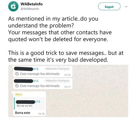 Imagen - Los mensajes citados en WhatsApp no se pueden eliminar