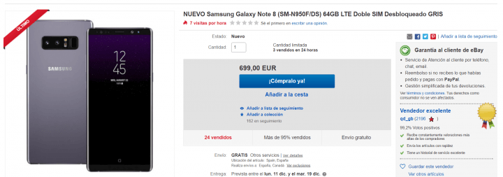 Imagen - Oferta: Samsung Galaxy Note 8 por solo 699 euros