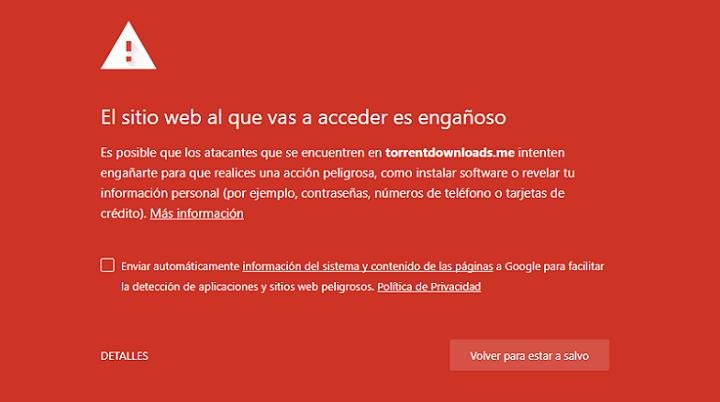 Imagen - TorrentDownloads es bloqueado por Chrome