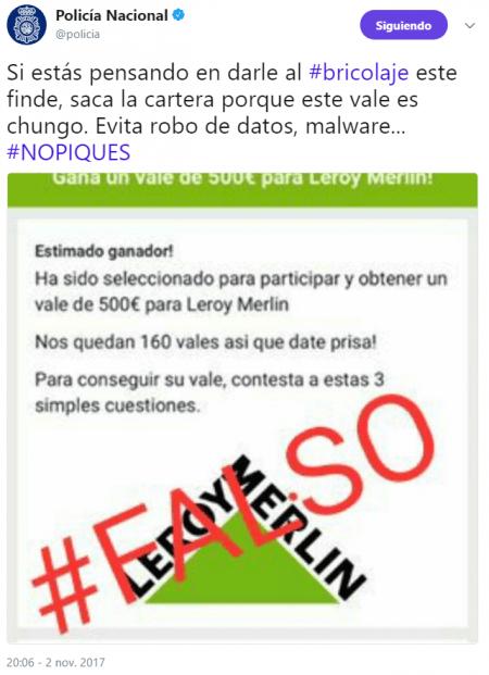 Imagen - Cuidado con los vales de 500€ para Leroy Merlin que circulan en WhatsApp