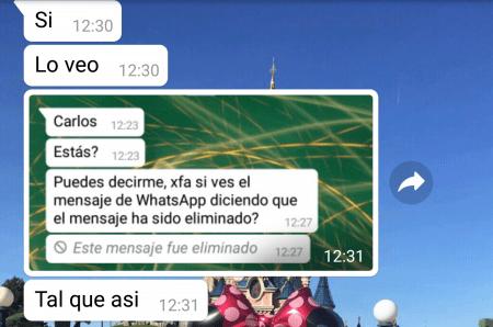 Imagen - Recuerda que WhatsApp avisa si un mensaje ha sido eliminado