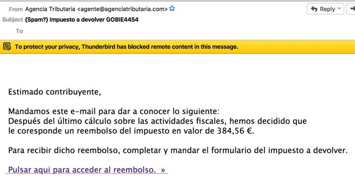 """Imagen - Cuidado con los emails de """"reembolso del impuesto"""" de la Agencia Tributaria"""