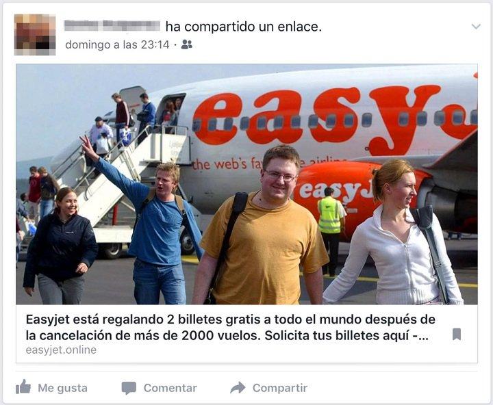 Imagen - Cuidado con los billetes gratis de easyJet que circulan en Facebook