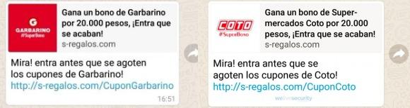 Imagen - Cuidado con los cupones descuento para Coto y Garbarino que circulan en WhatsApp