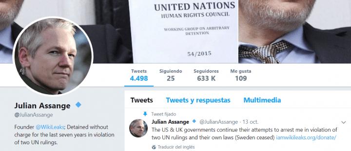 Imagen - La cuenta de Julian Assange de Twitter fue eliminada