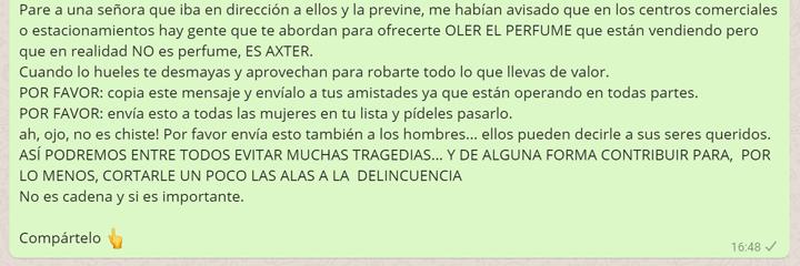 """Imagen - Cuidado con el bulo del """"golpe del perfume"""" que circula en WhatsApp"""