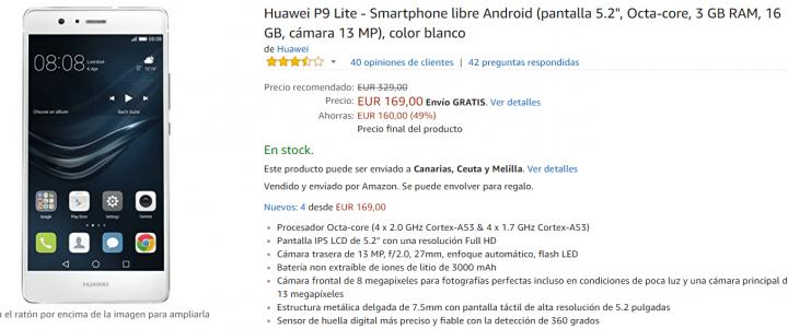 Imagen - Oferta: Huawei P9 Lite a precio mínimo de 169 euros
