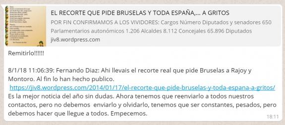 """Imagen - Circula en WhatsApp el """"recorte real que pide Bruselas a Rajoy y Montoro"""""""