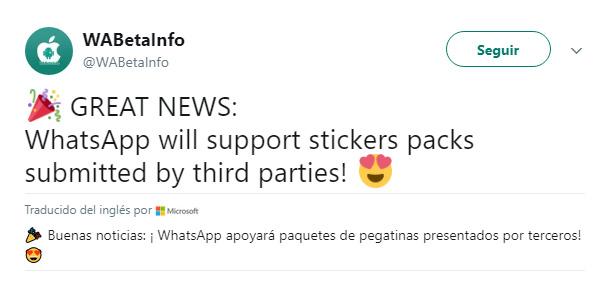 Imagen - WhatsApp permitirá instalar stickers