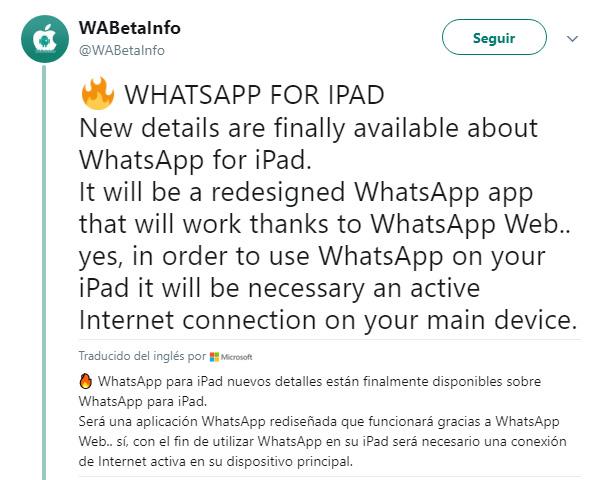 Imagen - WhatsApp para iPad será así