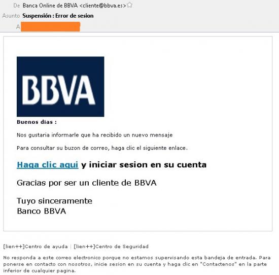 """Imagen - Cuidado con el email de """"Suspensión: Error de sesión"""" del BBVA"""