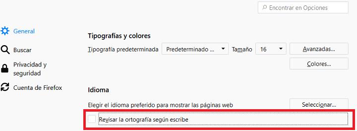Imagen - Cómo desactivar el corrector de Firefox