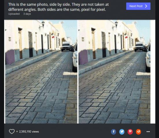 Imagen - Una ilusión óptica se hace viral: dos fotos son idénticas, pero una parece inclinada