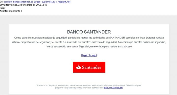 Imagen - Cuidado con los correos de phishing hacia clientes de Banco Santander