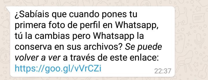 """Imagen - """"WhatsApp conserva tu primera foto de perfil"""": un viral entre el bulo y el humor"""