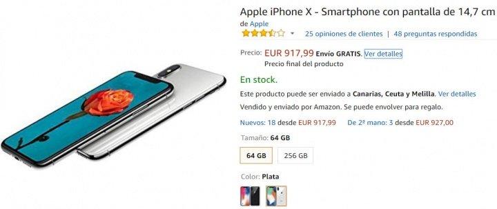 Imagen - Oferta: iPhone X por 918 euros en Amazon