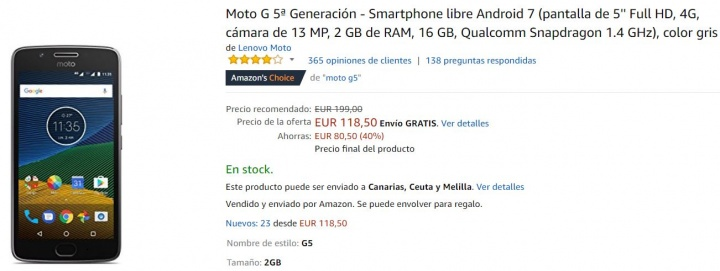 Imagen - Oferta: Moto G5 por solo 118 euros en Amazon