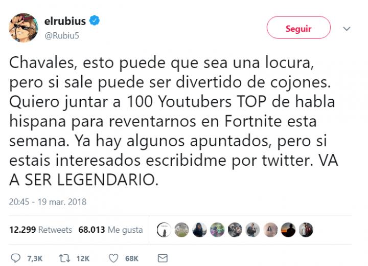Imagen - El Rubius consigue 1 millón de espectadores jugando a Fortnite con 100 youtubers