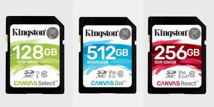 Canvas Select, Go! y React, las nuevas SD y microSD de Kingston para vídeo y fotos
