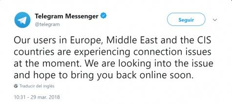 Imagen - Telegram no funciona: se ha caído en toda Europa