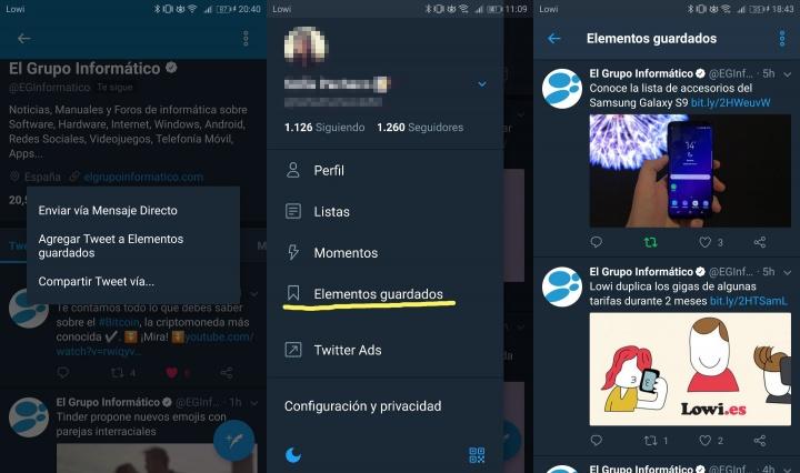 """Imagen - Twitter ya permite guardar tweets en """"Elementos guardados"""""""