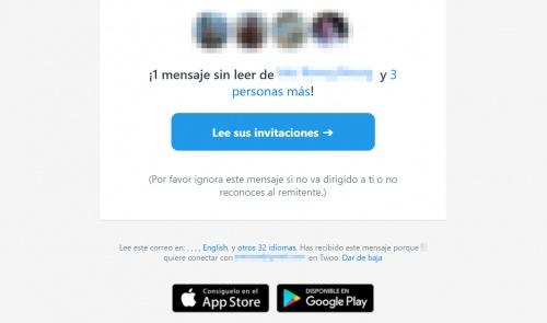 """Imagen - ¿Qué es el email de """"1 mensaje sin leer"""" de Twoo?"""
