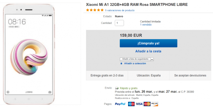 Imagen - Oferta: Xiaomi Mi A1 por solo 159 euros en eBay