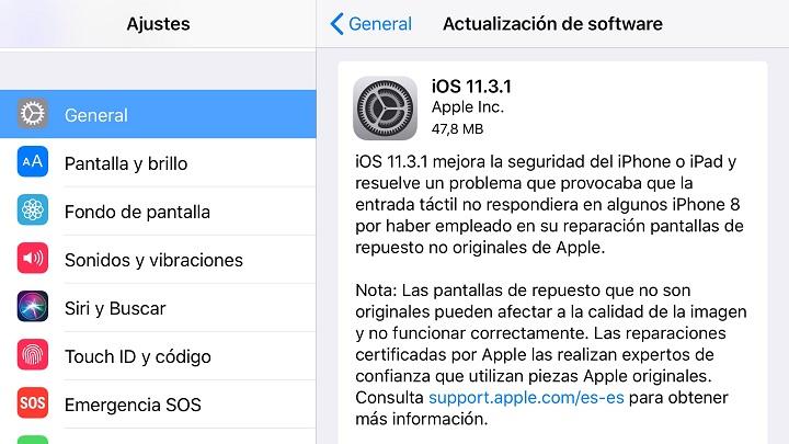 Imagen - iOS 11.3.1 ya disponible: vuelven a funcionar las pantallas reparadas por terceros