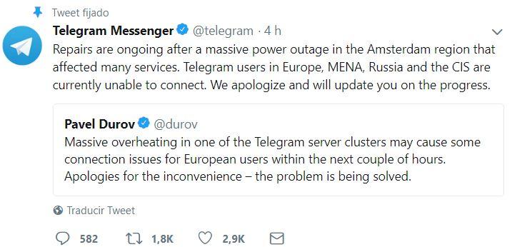 Imagen - Telegram está caído: falla al enviar y recibir mensajes