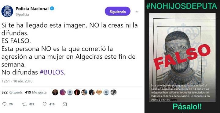 Imagen - Un bulo con la foto del agresor de la mujer de Algeciras circula por WhatsApp