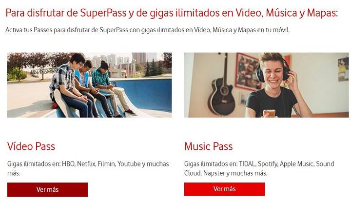 Imagen - Vodafone SuperPass, datos ilimitados para vídeo, música y mapas por 14 euros